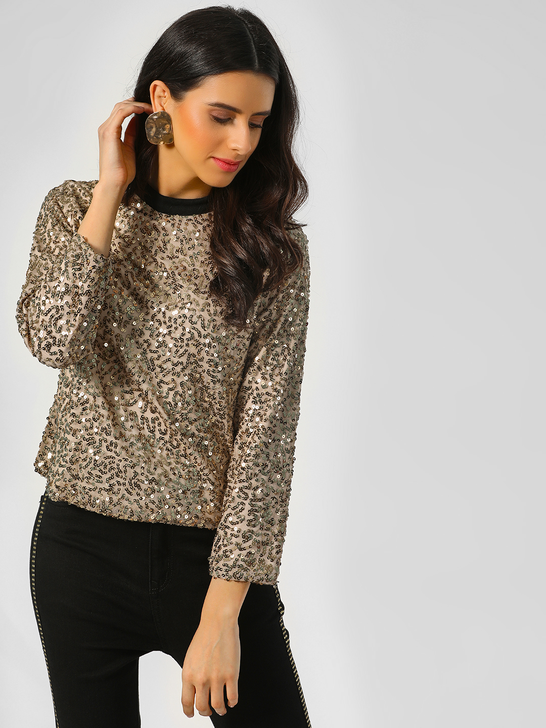Rena Love Gold Sequins Top With Contrast Collar 1