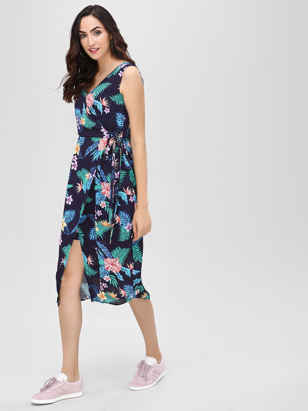 Cover Story Navy Floral Print Midi Dress 1