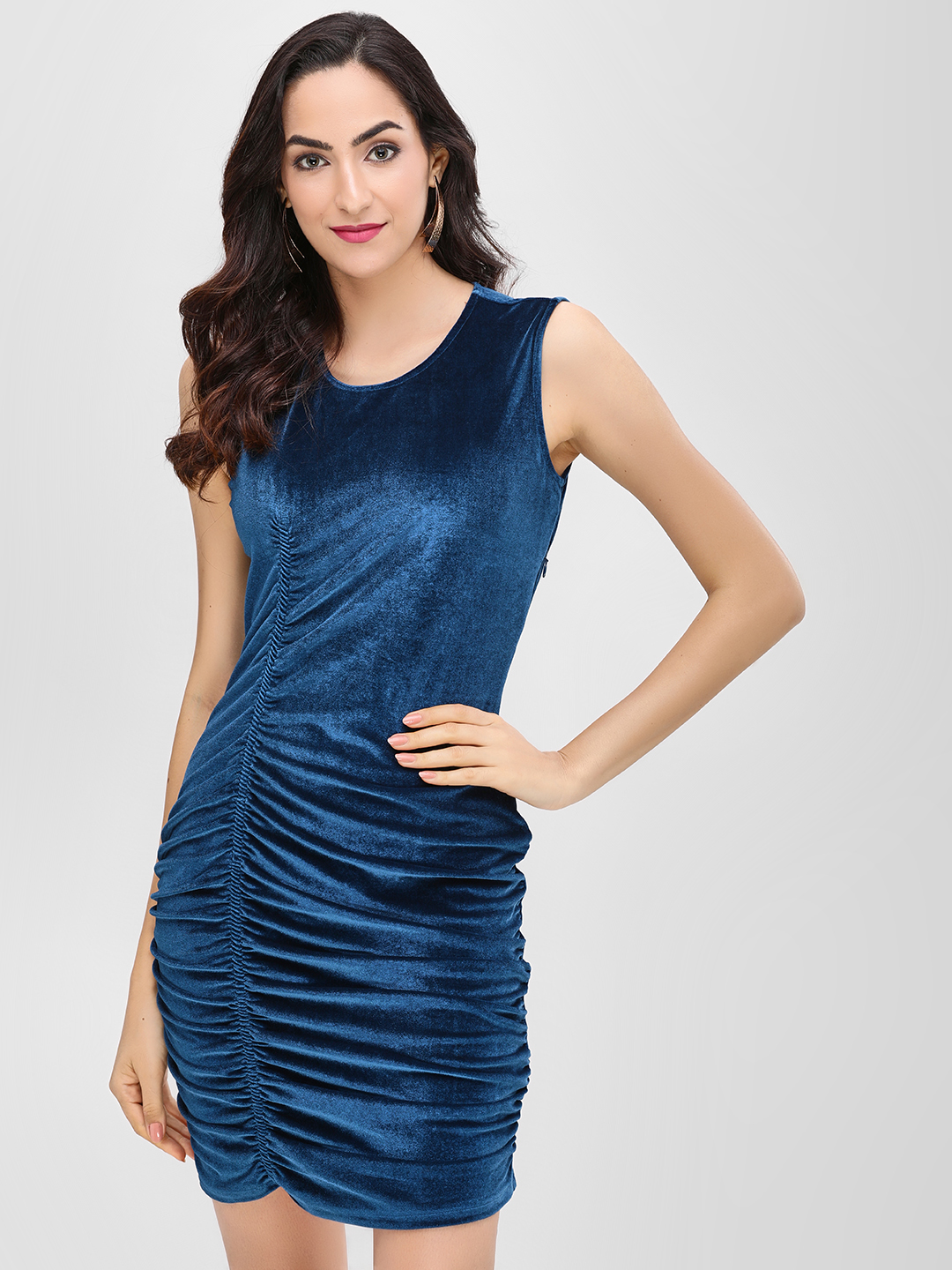 Cover Story Navy Sleeveless Velvet Bodycon Dress 1