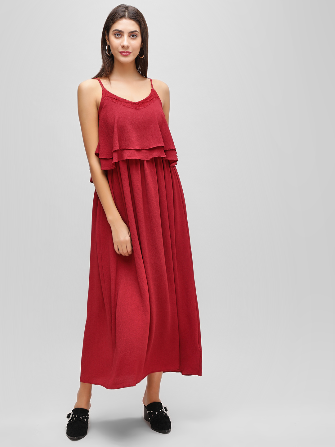 Cover Story Rust Sleeveless Flared Maxi Dress 1