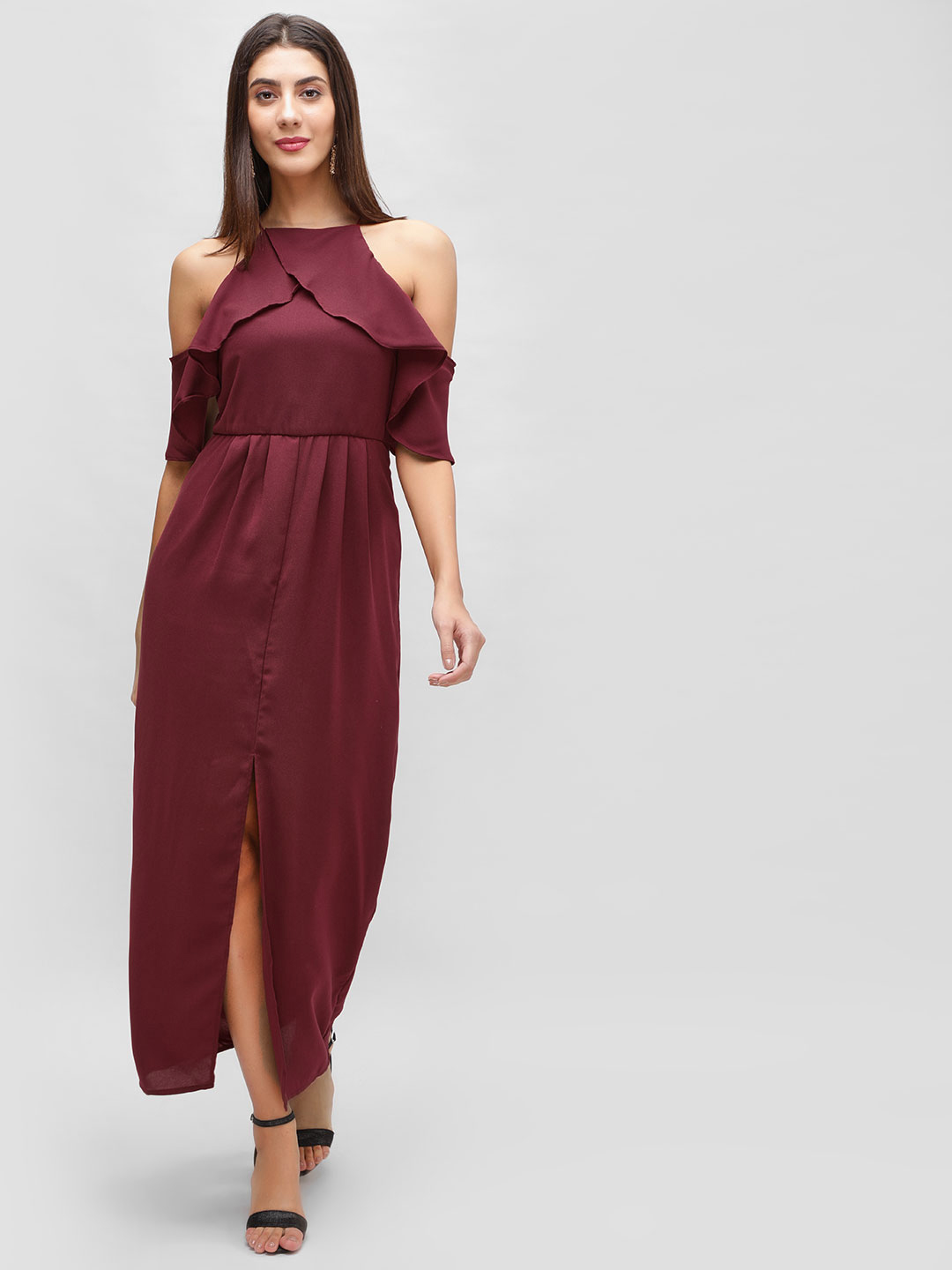 Cover Story Wine Maxi Dress With High Slit 1