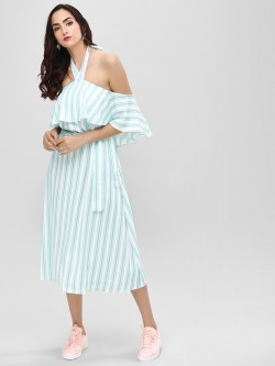 Cover Story Halter Stripe Maxi Dress