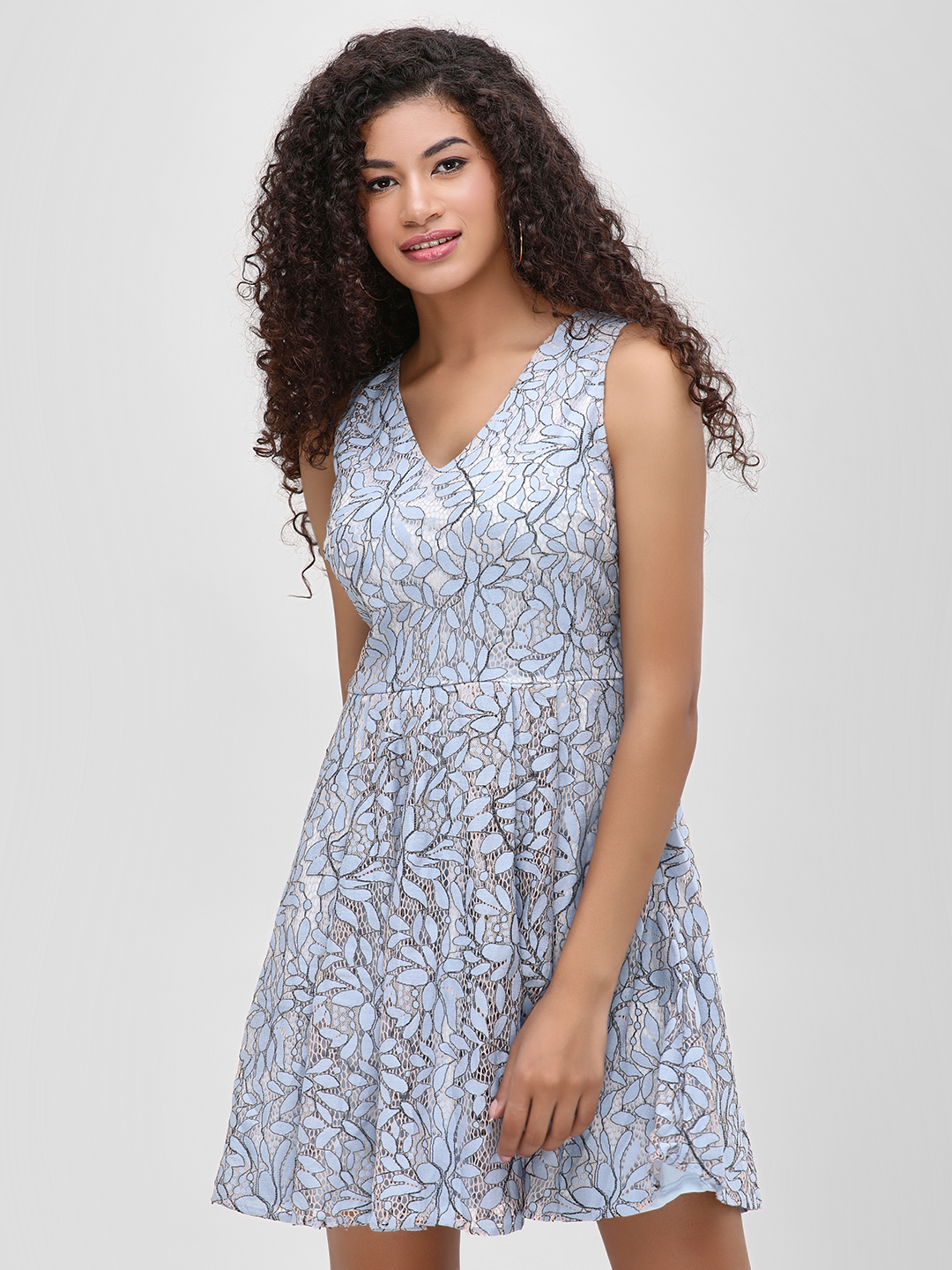 Cover Story Blue Lace Sleeveless Skater Dress 1