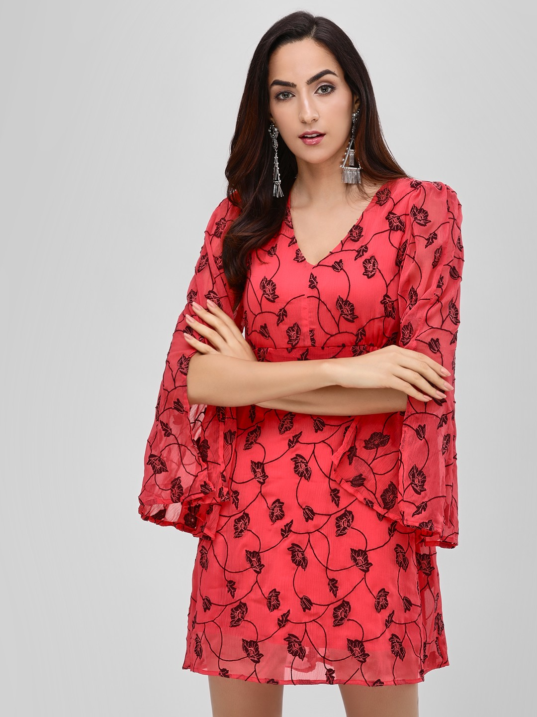 Cover Story Red Floral Print Shift Dress 1