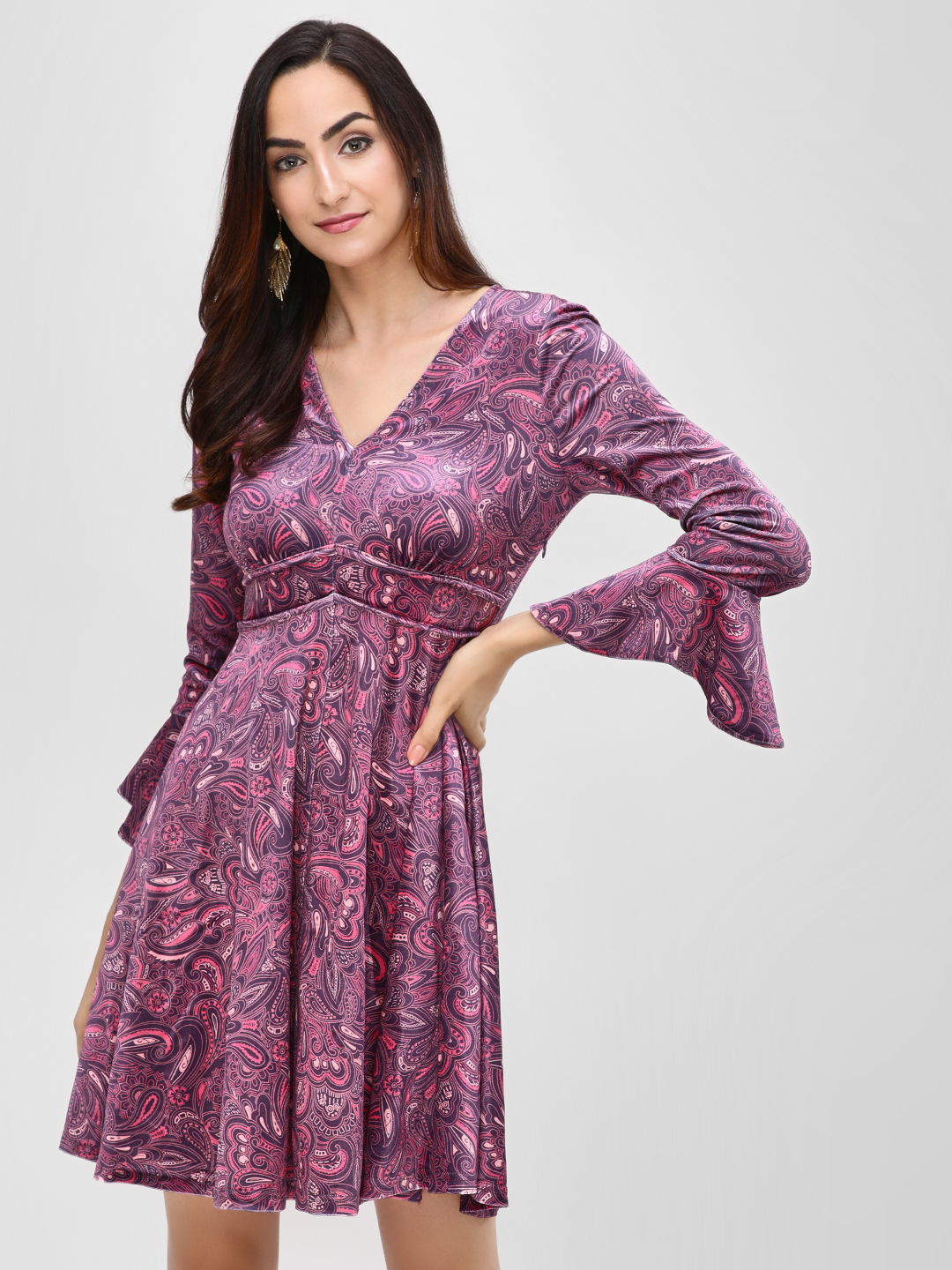 Cover Story Multi Paisley Print Velvet Skater Dress 1