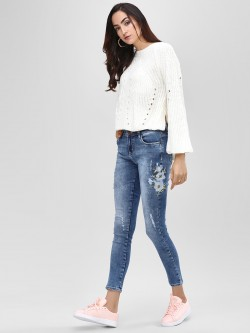 Cover Story Embroidered Cropped Skinny Jeans