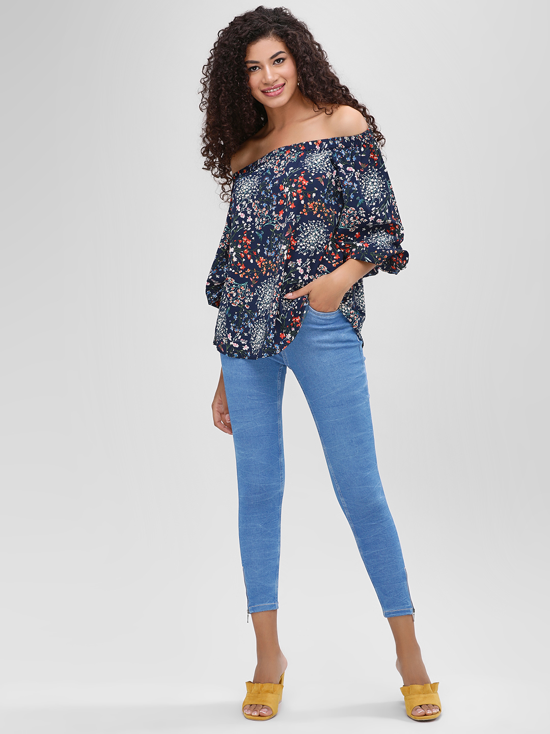 Cover Story Blue Plain Skinny Cropped Jeans 1