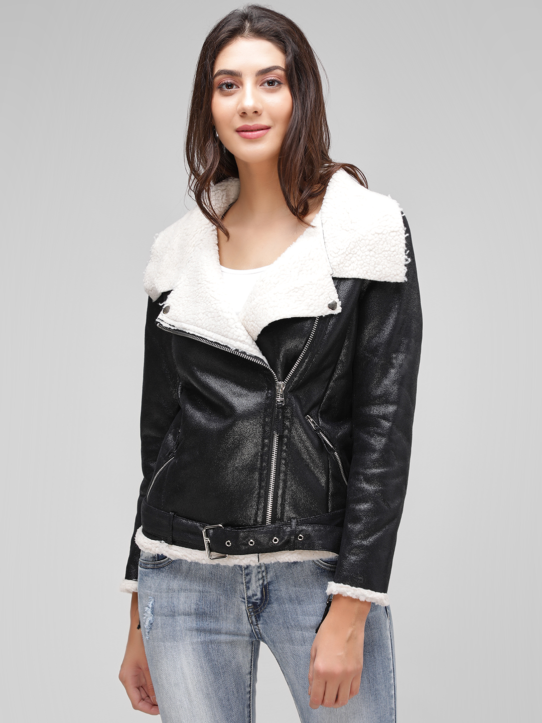 Cover Story Black Fur Collar Leather Jacket 1