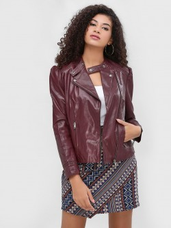 Cover Story Zipper Detail Biker Jacket