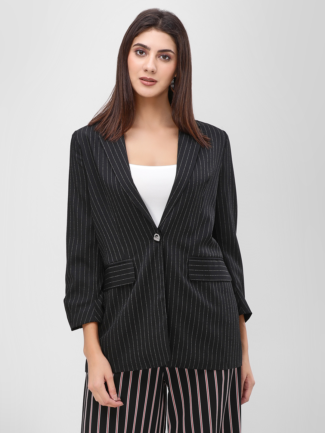 Cover Story Black Long Sleeve Striped Coat 1