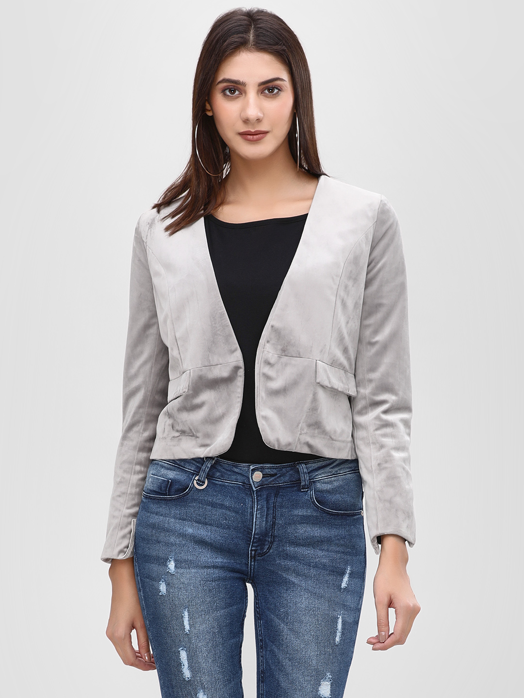 Cover Story Grey Blazer With Pocket Flap Detail 1