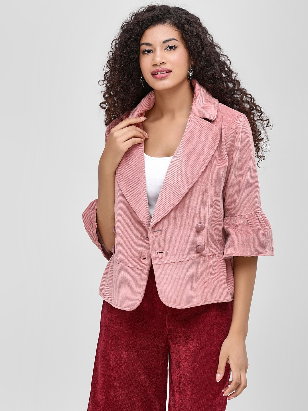 Cover Story Blush pink Jacket With Button Detail 1