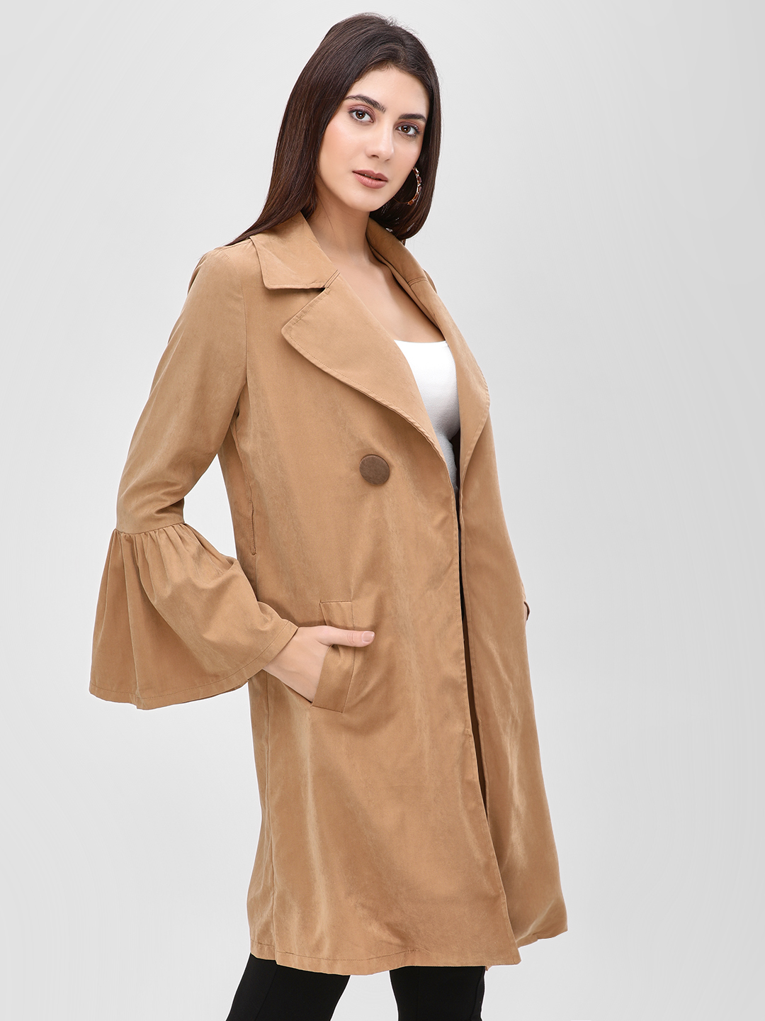 Cover Story Brown Longline Trench Coat 1