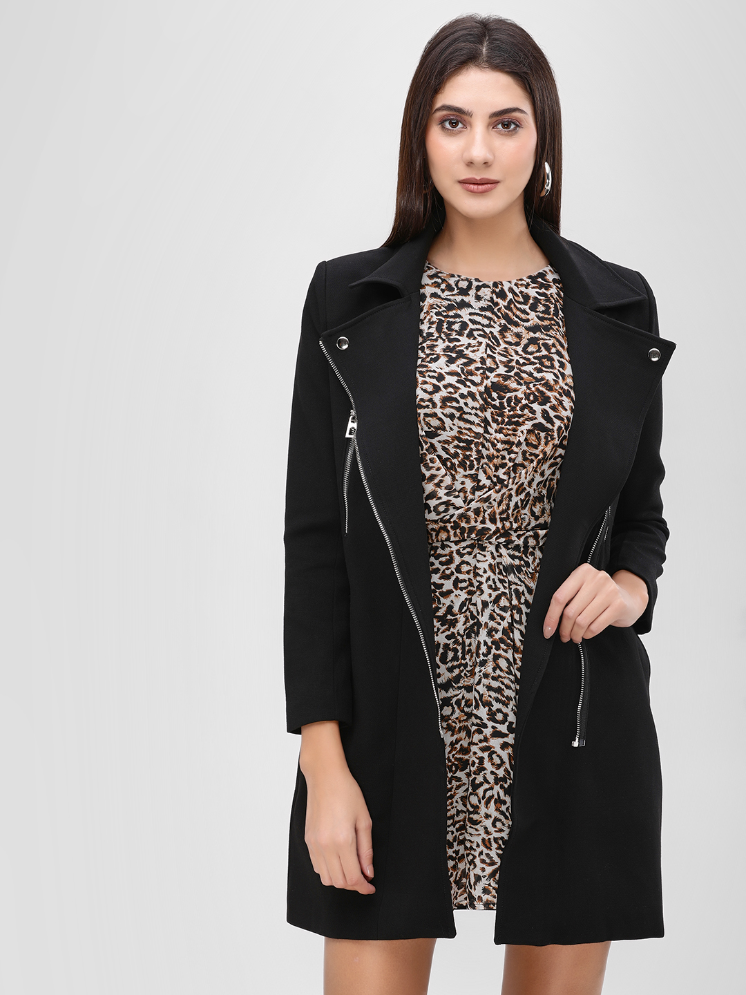 Cover Story Black Long Line Coat With Zipper Detail 1