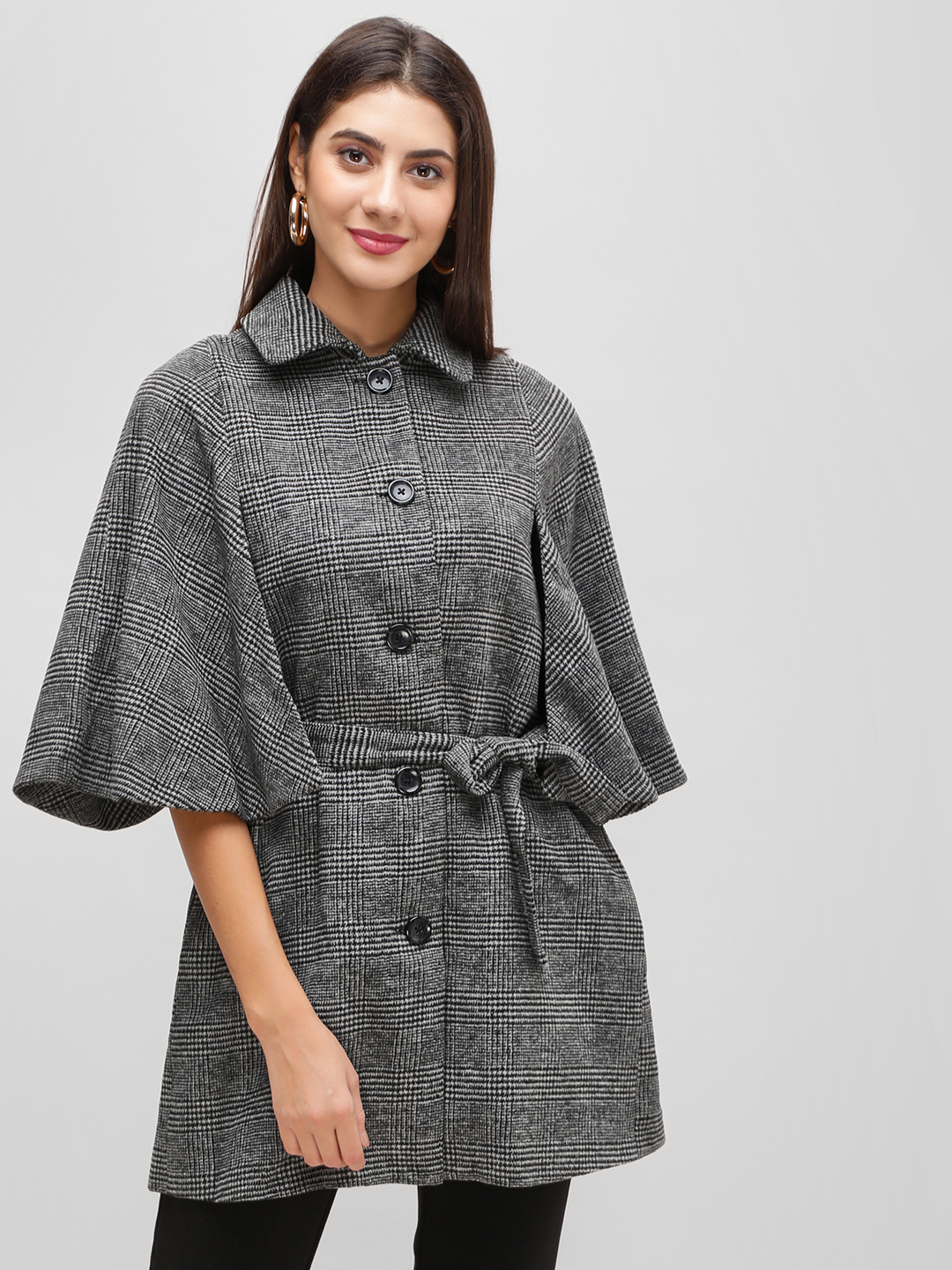Cover Story Grey Checkered Flared Sleeve Coat 1