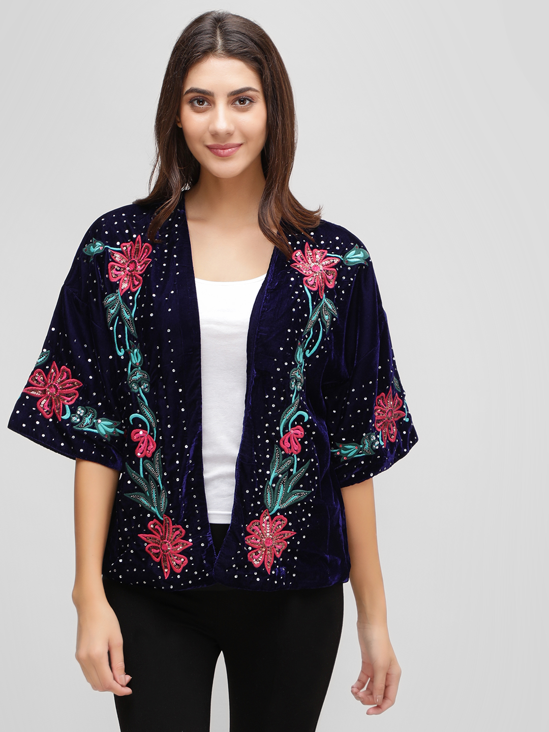 Cover Story Blue Floral Emboidered Sequin Velvet Shrug 1