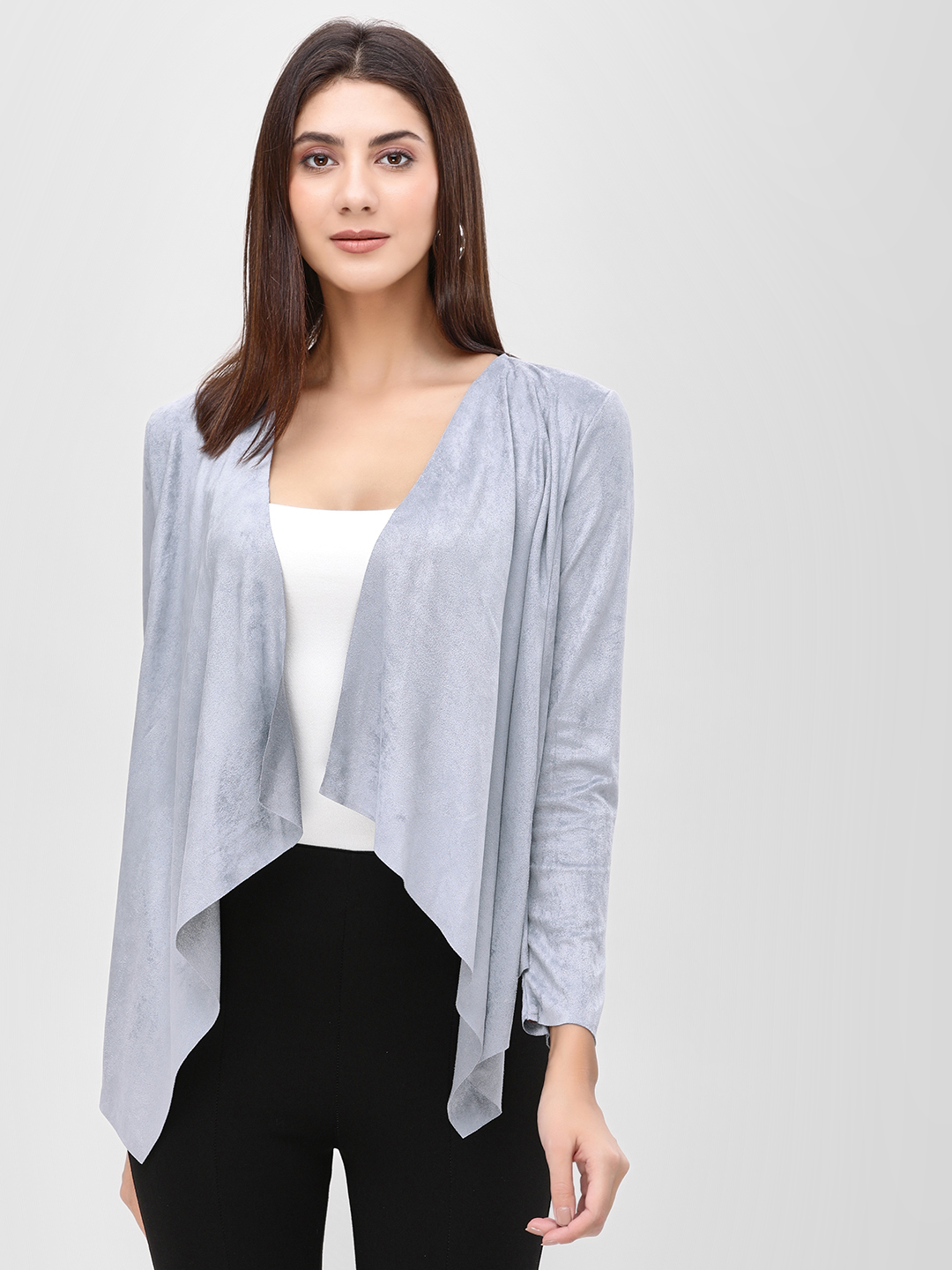 Cover Story Blue Front Open Waterfall Shrug 1