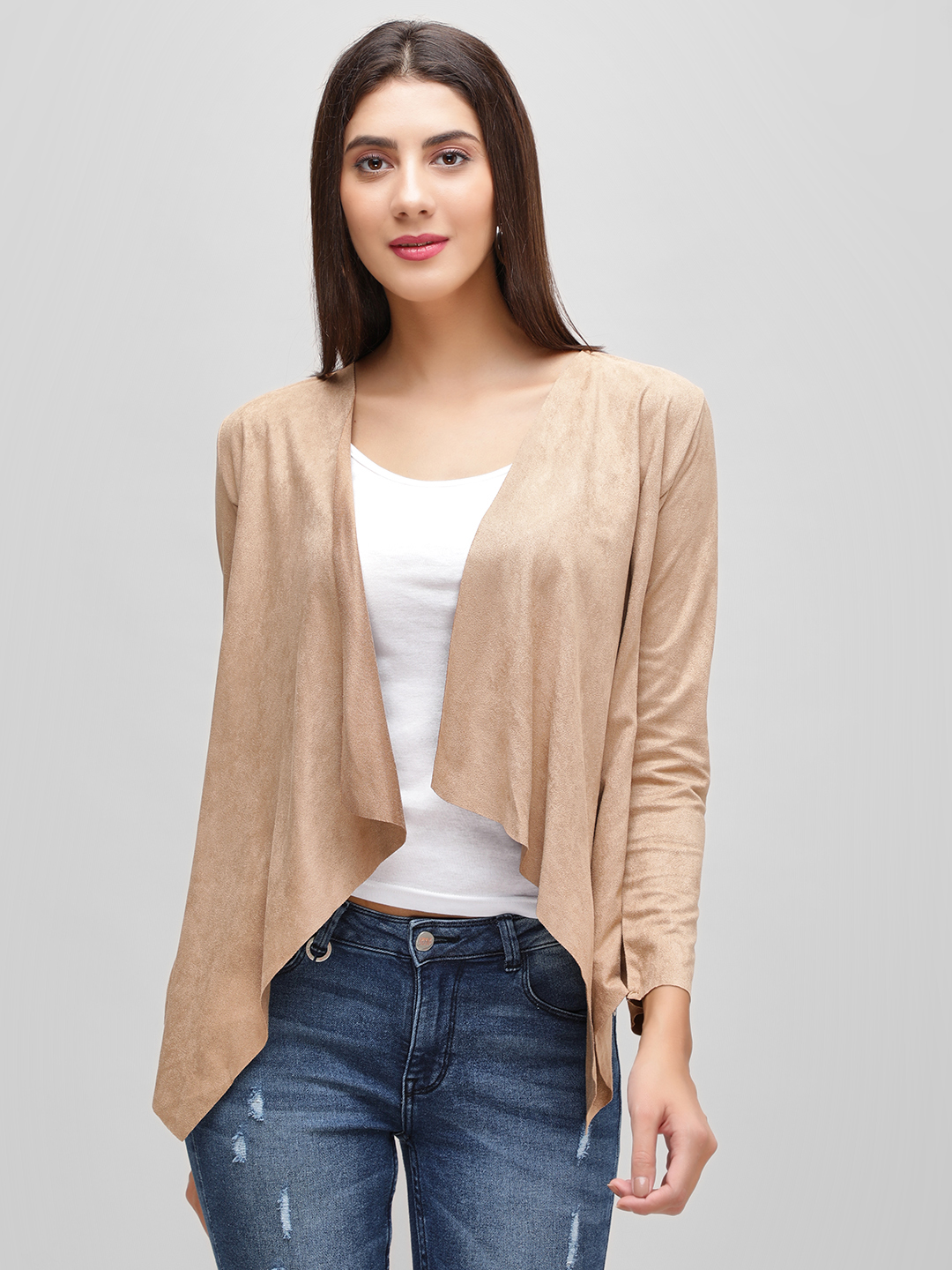 Cover Story Tan Waterfall Shrug 1