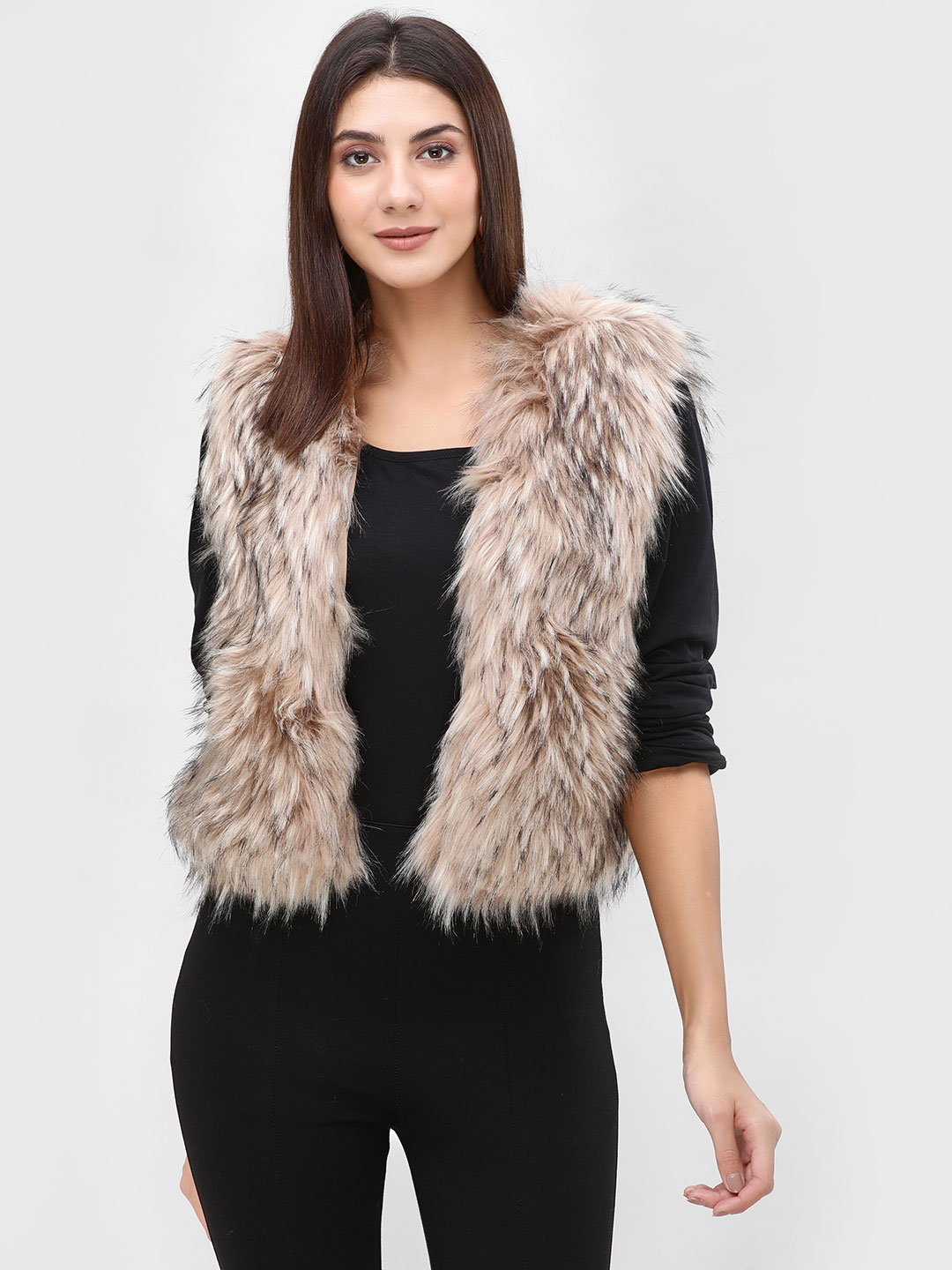 Cover Story Brown Fur Sleeveless Jacket 1