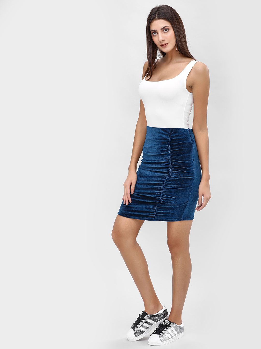 Cover Story Blue Velvet Ruched Mini Skirt 1