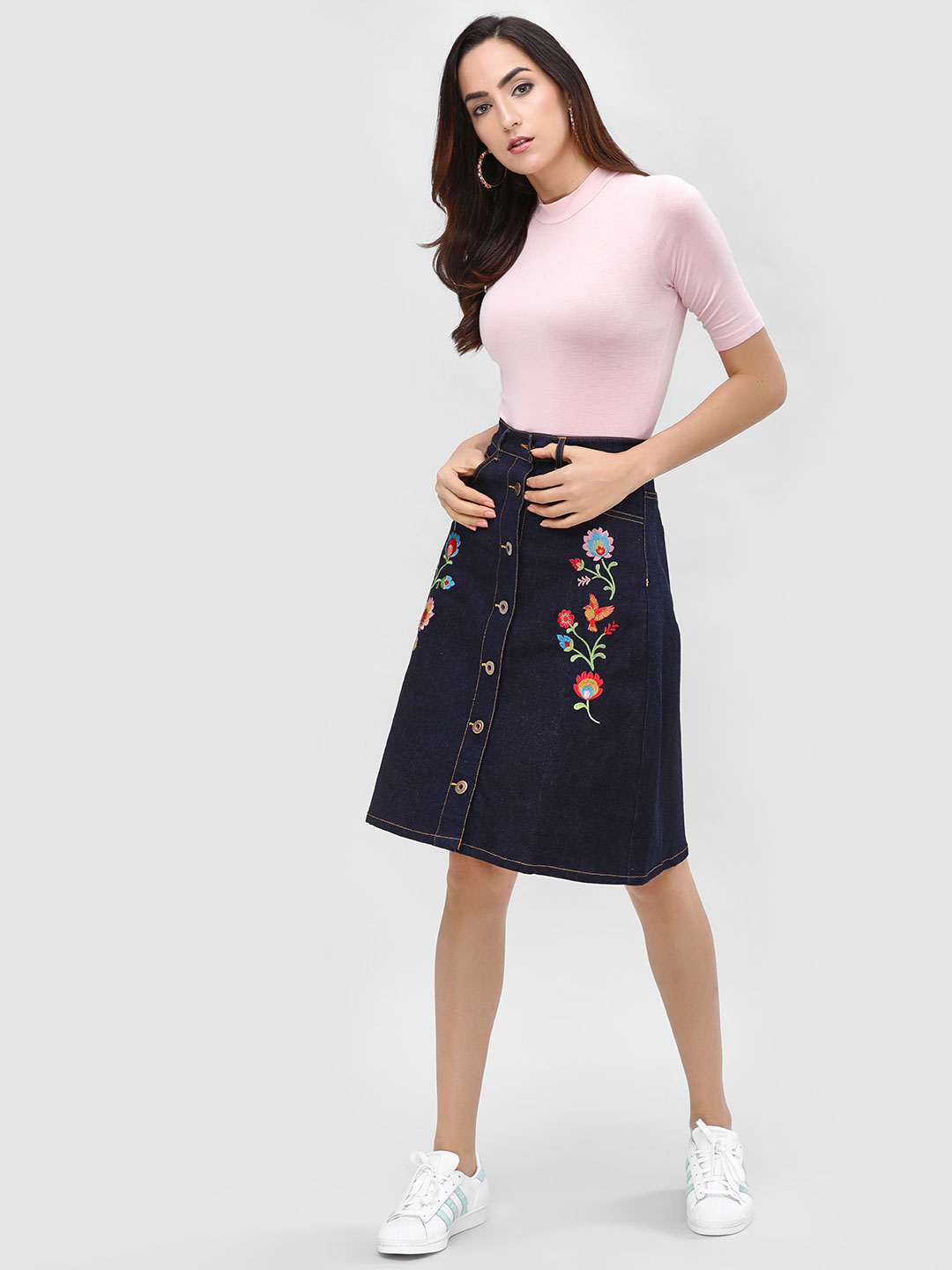 Cover Story Navy Embroidered Mini Skirt 1