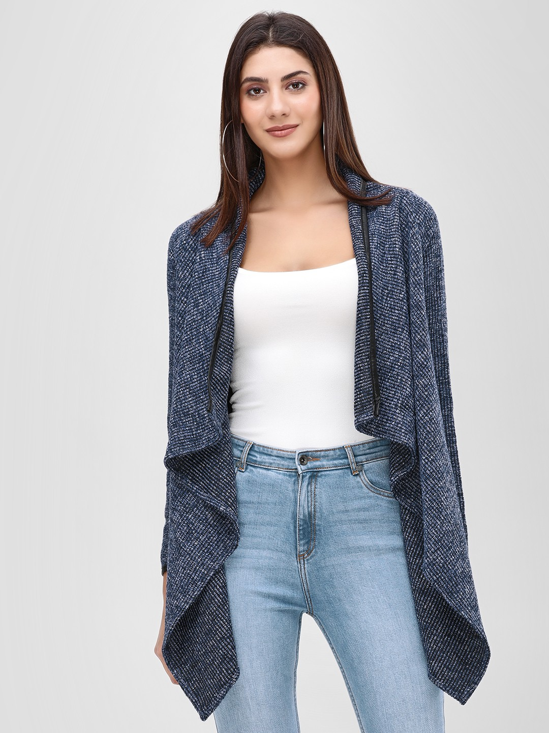 Cover Story Navy Front Open Waterfall Shrug 1