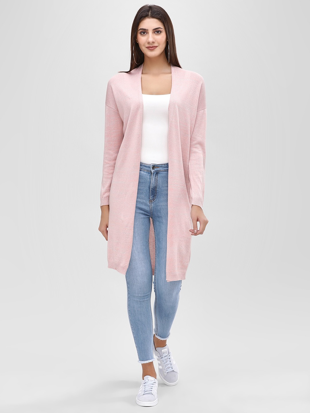 Cover Story Pink Lurex Longline Shrug 1