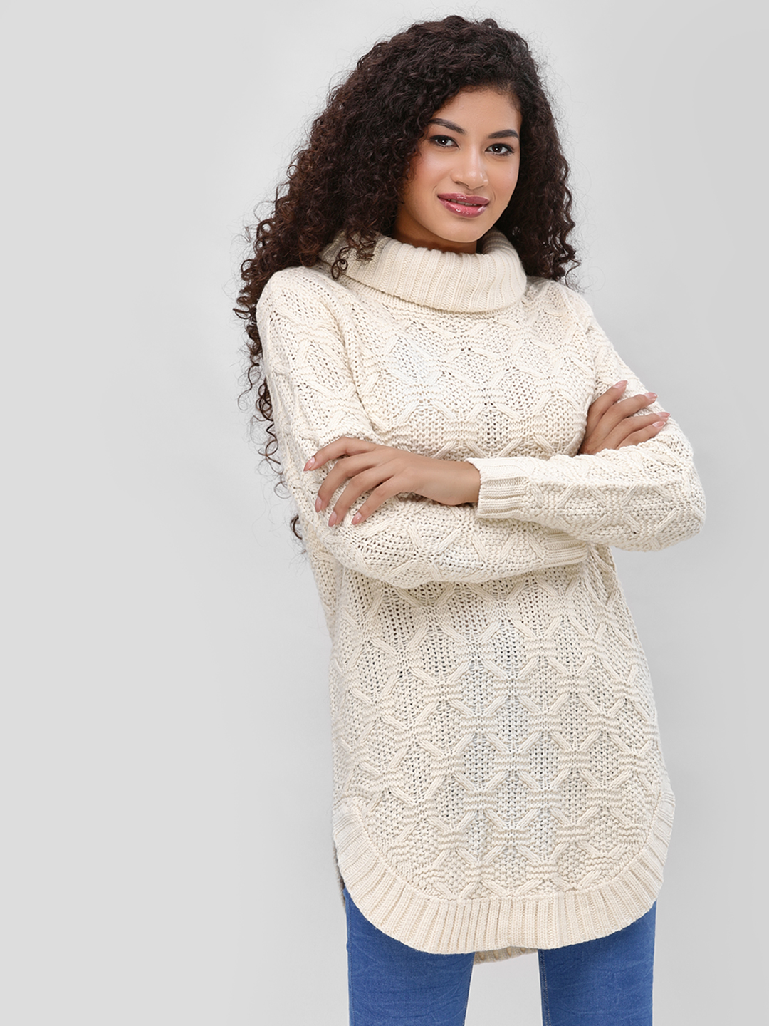 Cover Story Cream Turtle Neck Pullover 1