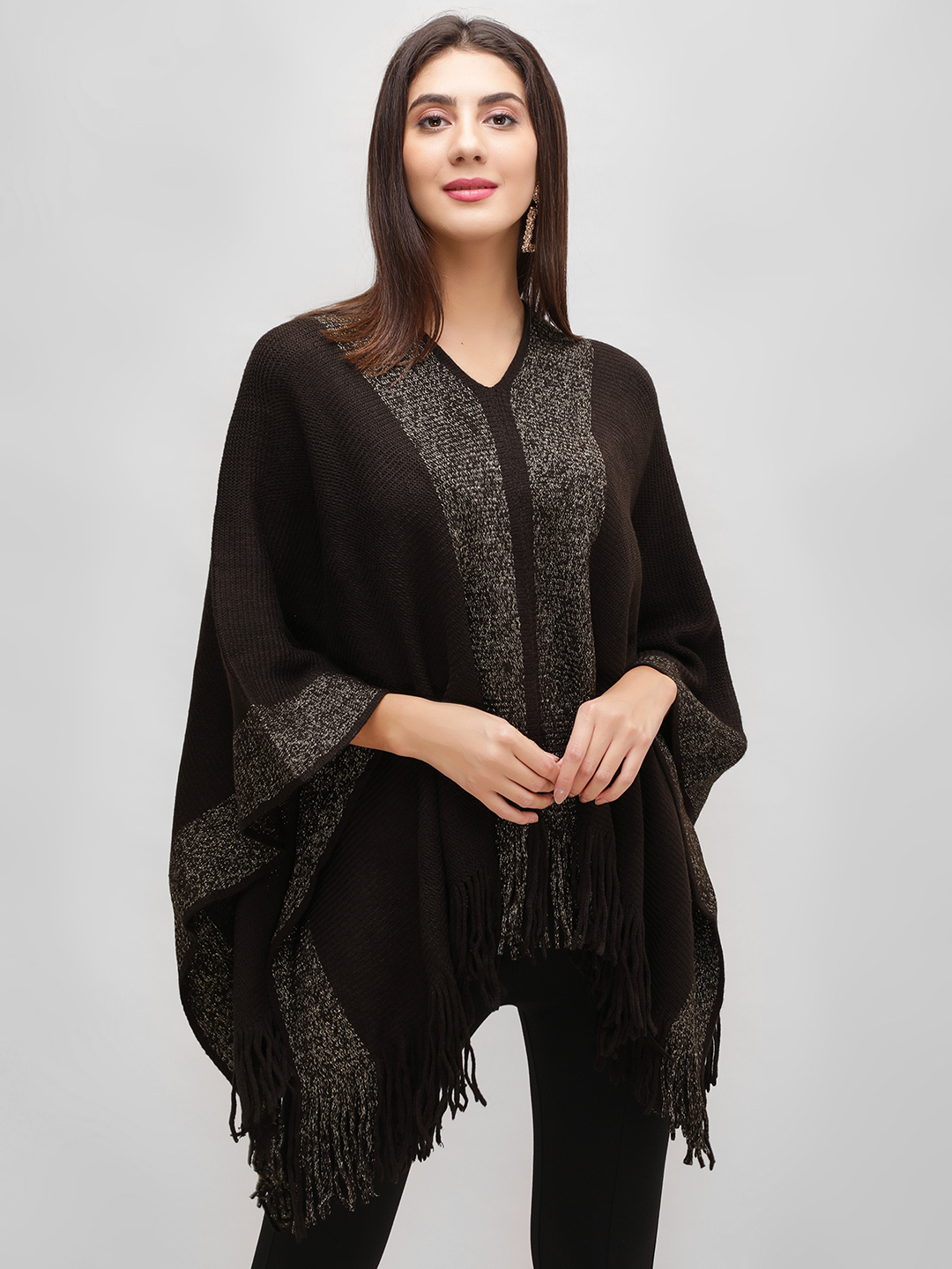 Cover Story Brown Lurex Border Woollen Poncho 1