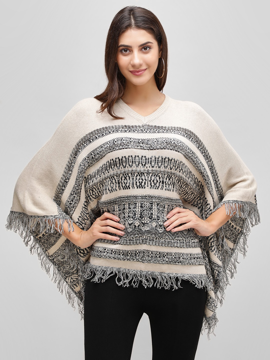 Cover Story Off White Self-Design Knitted Poncho 1