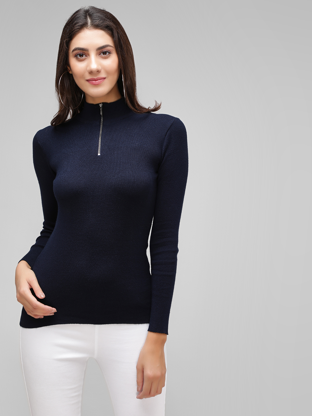 Cover Story Blue Zippered High Neck Pullover 1