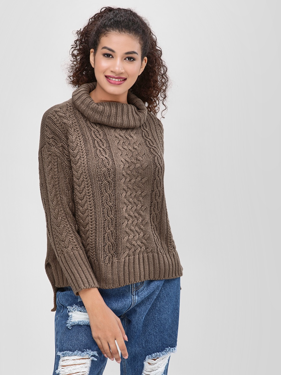 Cover Story Grey Turtle Neck Sweater 1