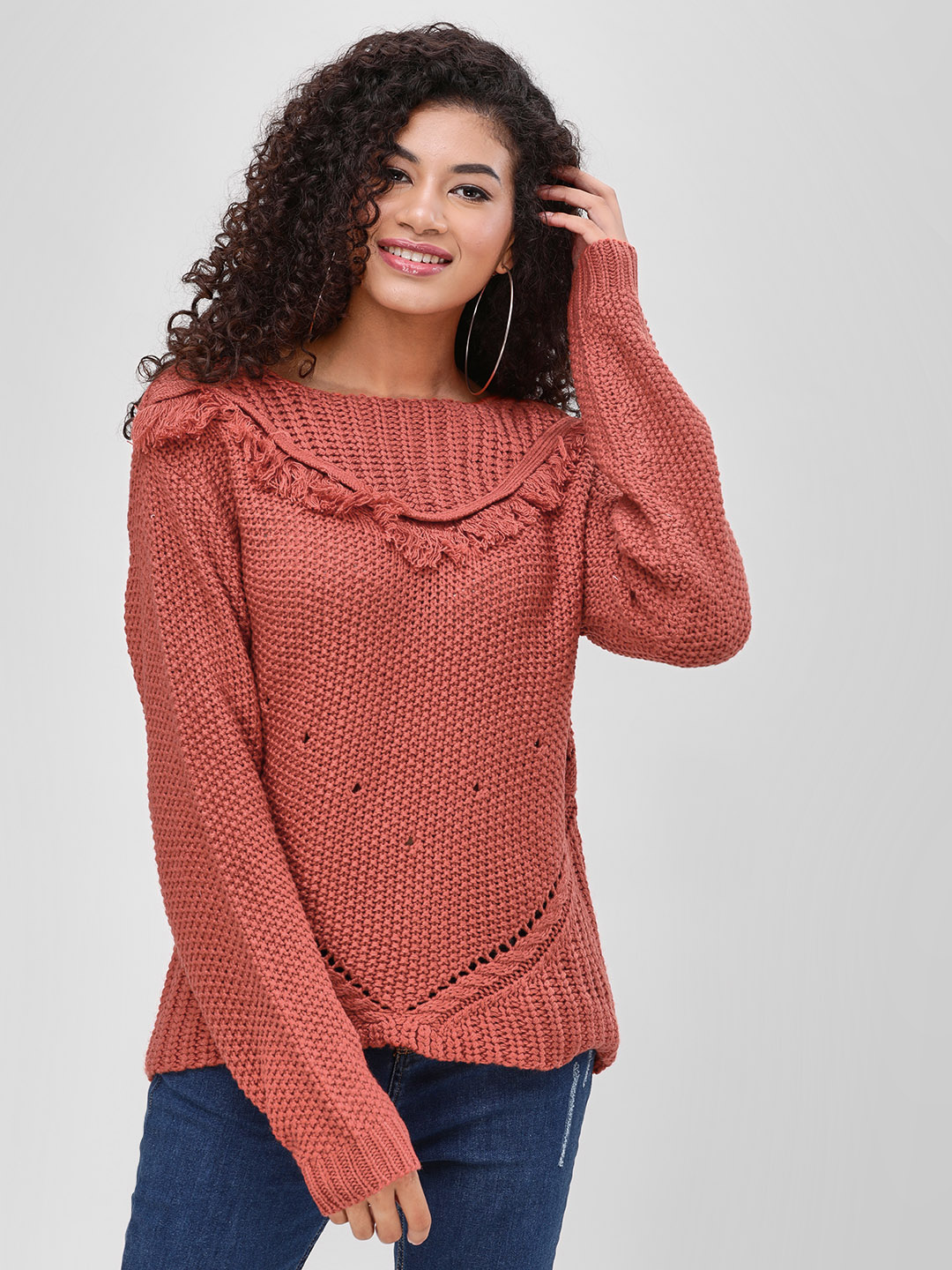 Cover Story Rust Frill Detail Croatia Sweater 1