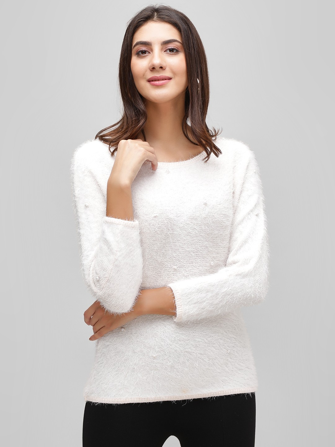 Cover Story Blush pink Fuzzy Pearl Detail Jumper 1