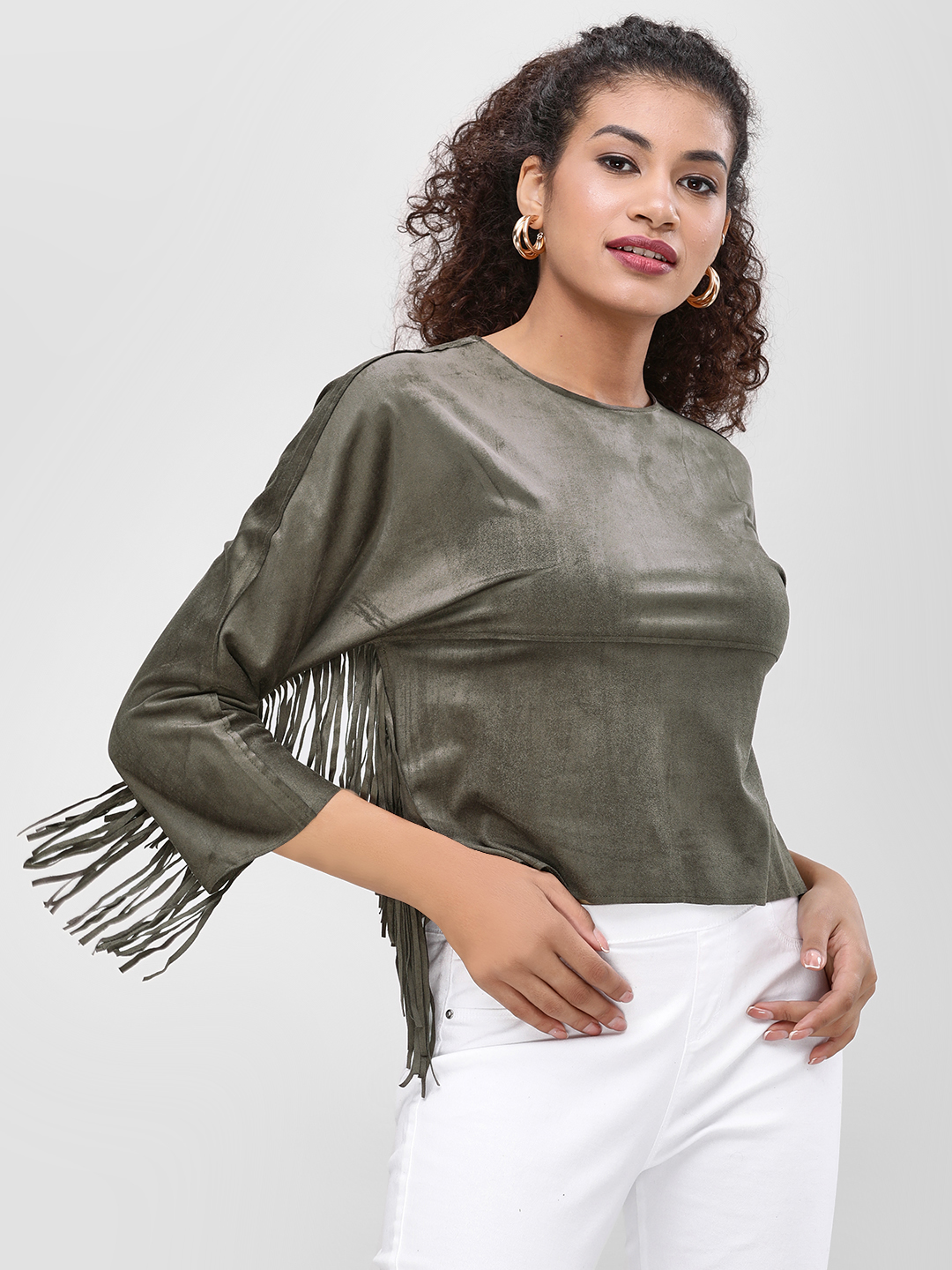 Cover Story Olive Statement Fringe Top 1