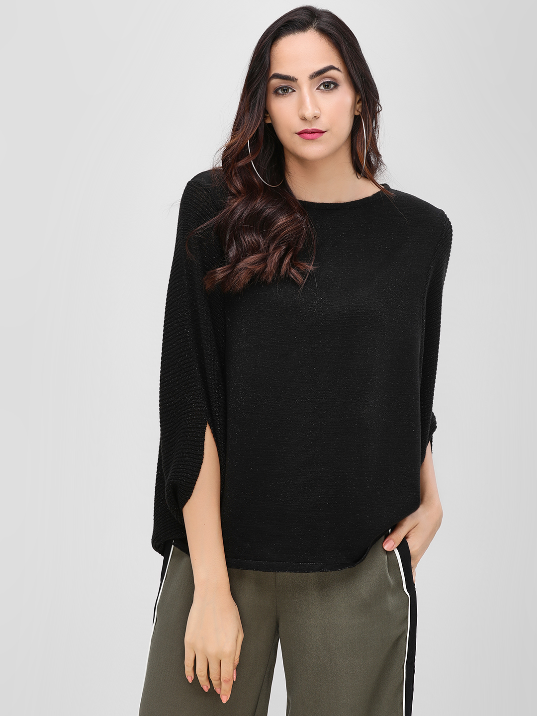 Cover Story Black Statement Ribbed Pullover 1