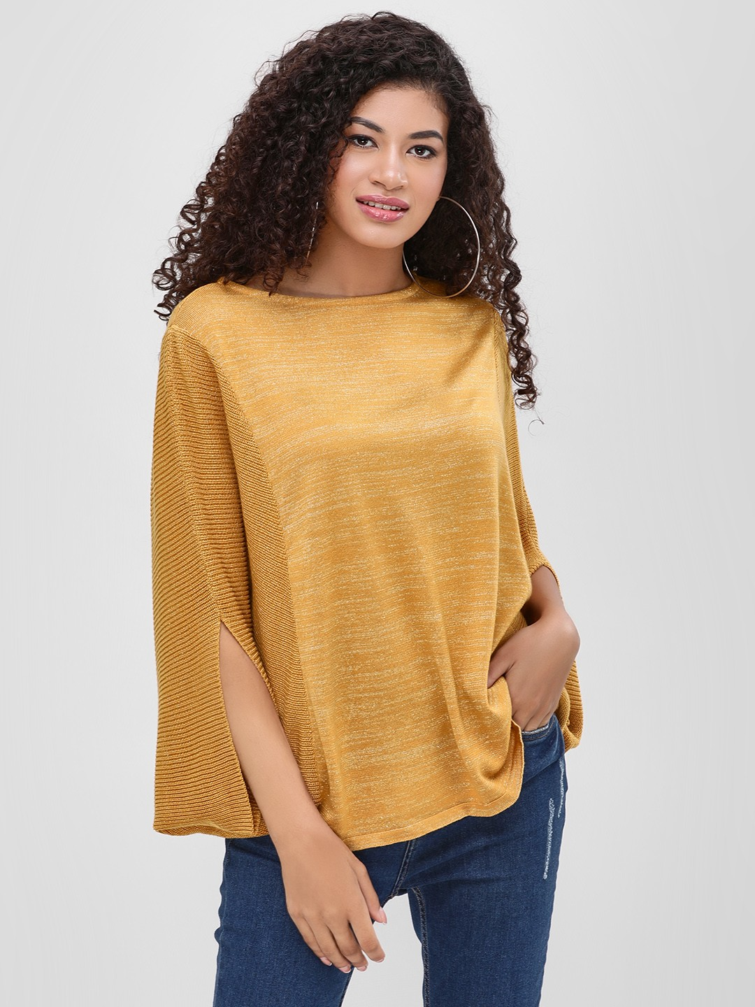 Cover Story Gold Statement Ribbed Sleeve Pullover 1