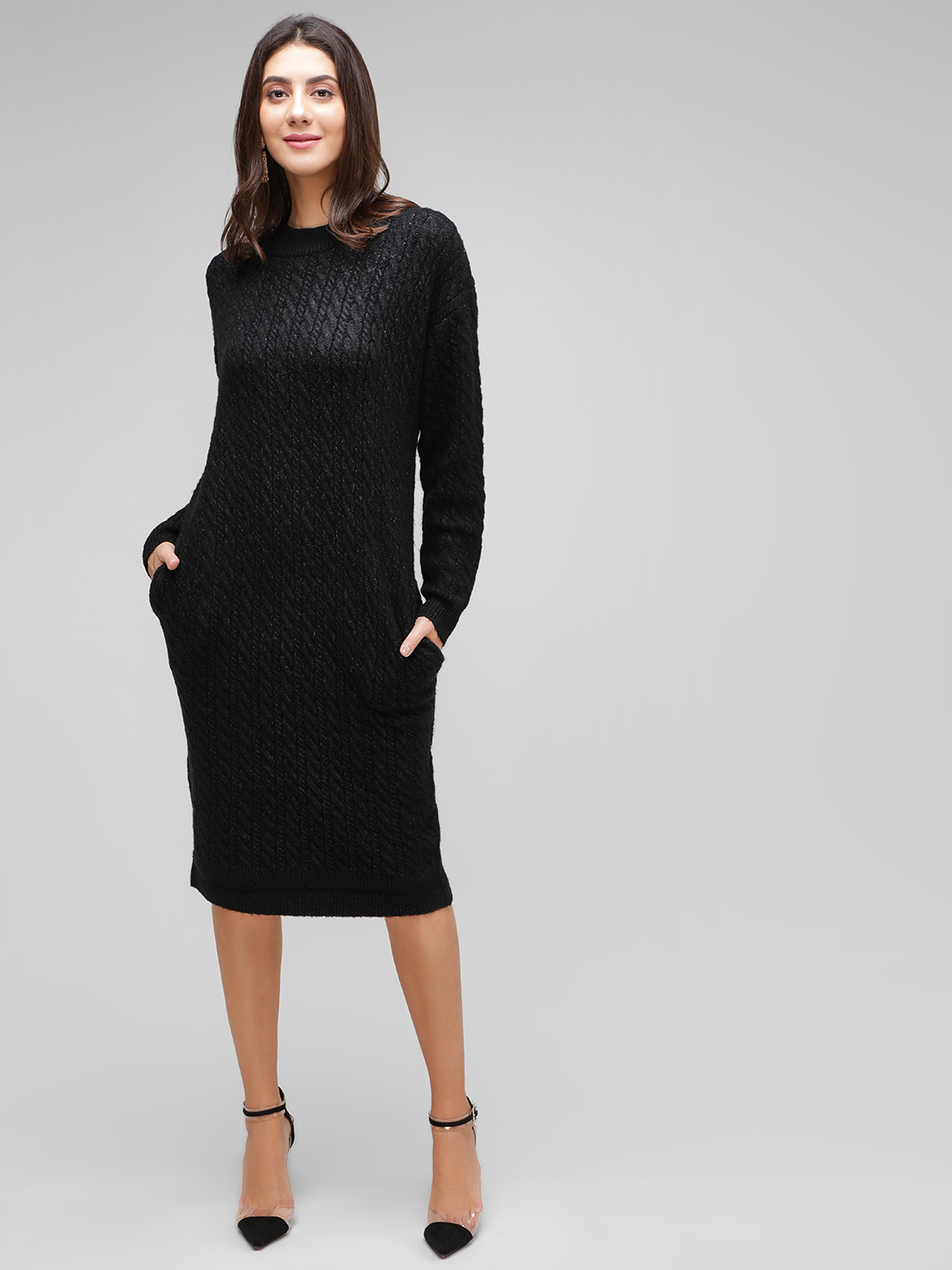 Cover Story Black Textured Midi Dress 1