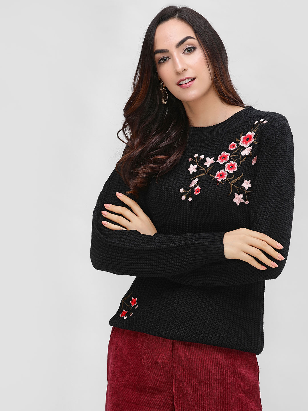 Cover Story Black Long Sleeve Embroidered Pullover 1