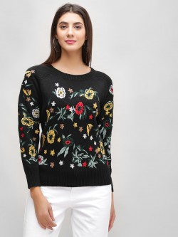 Cover Story Floral Embroidered Pullover