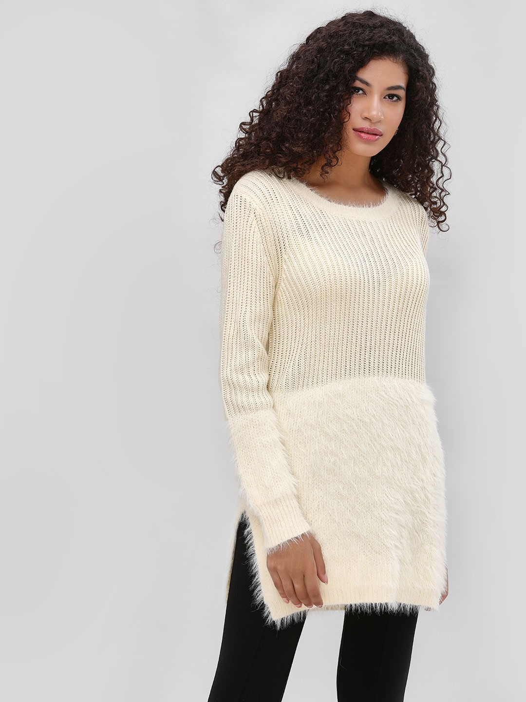 Cover Story Beige Textured Sweater With Long Sleeves 1