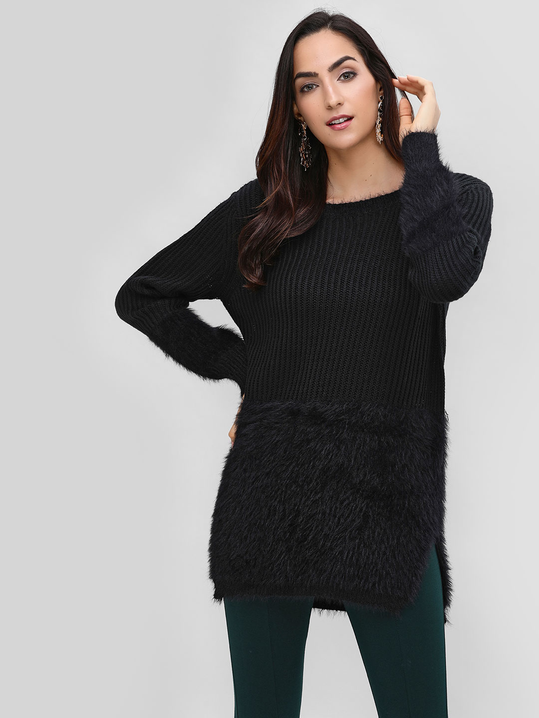 Cover Story Black Textured Sweater 1