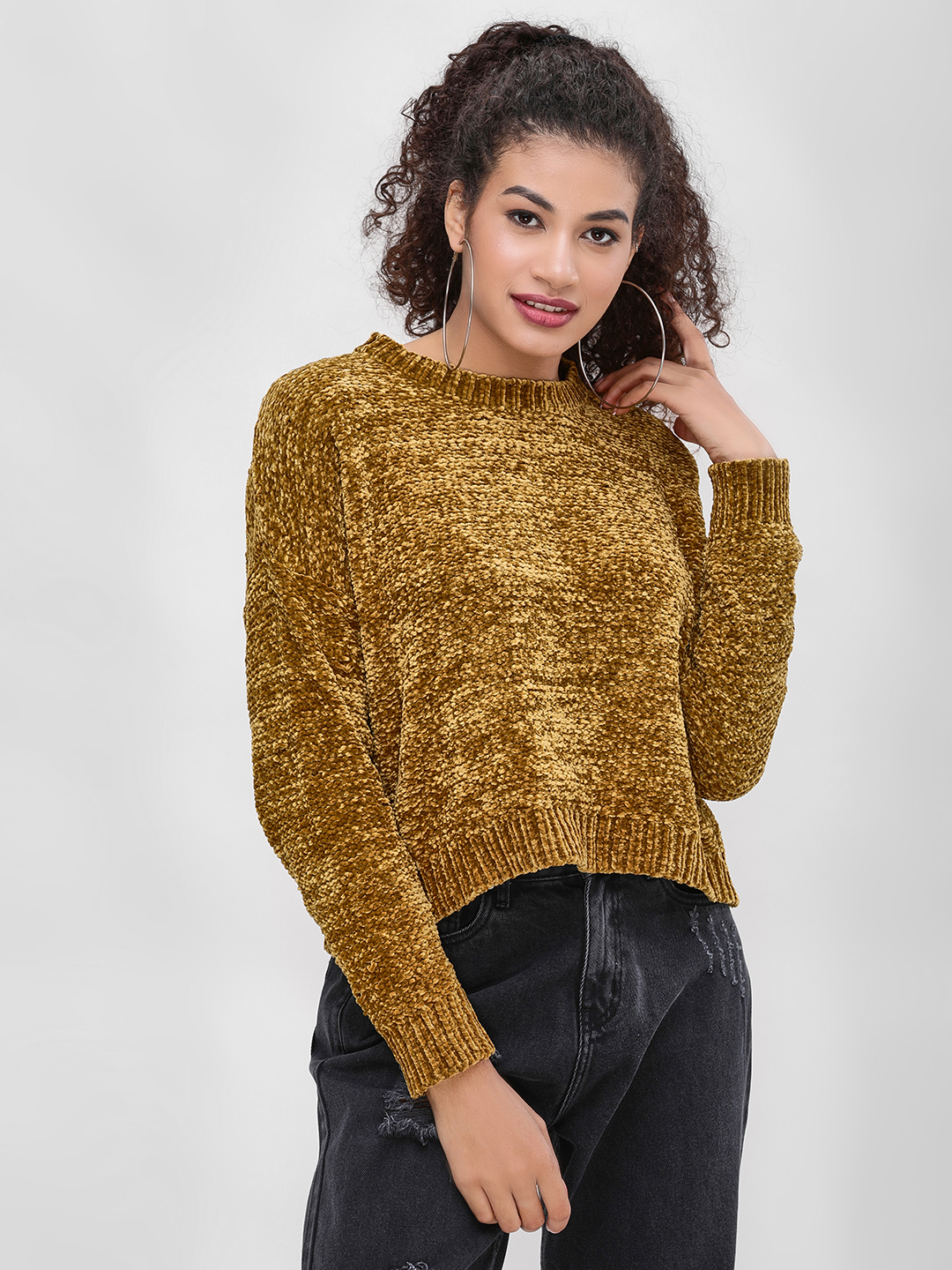 Cover Story Brown Textured Chenille Pullover 1
