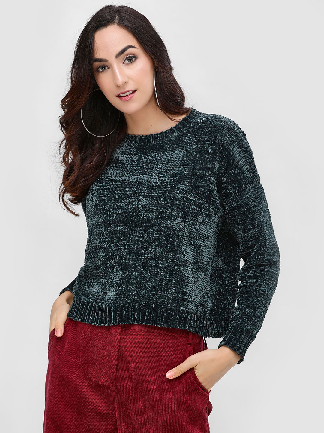Cover Story Green Textured Chenille Pullover 1