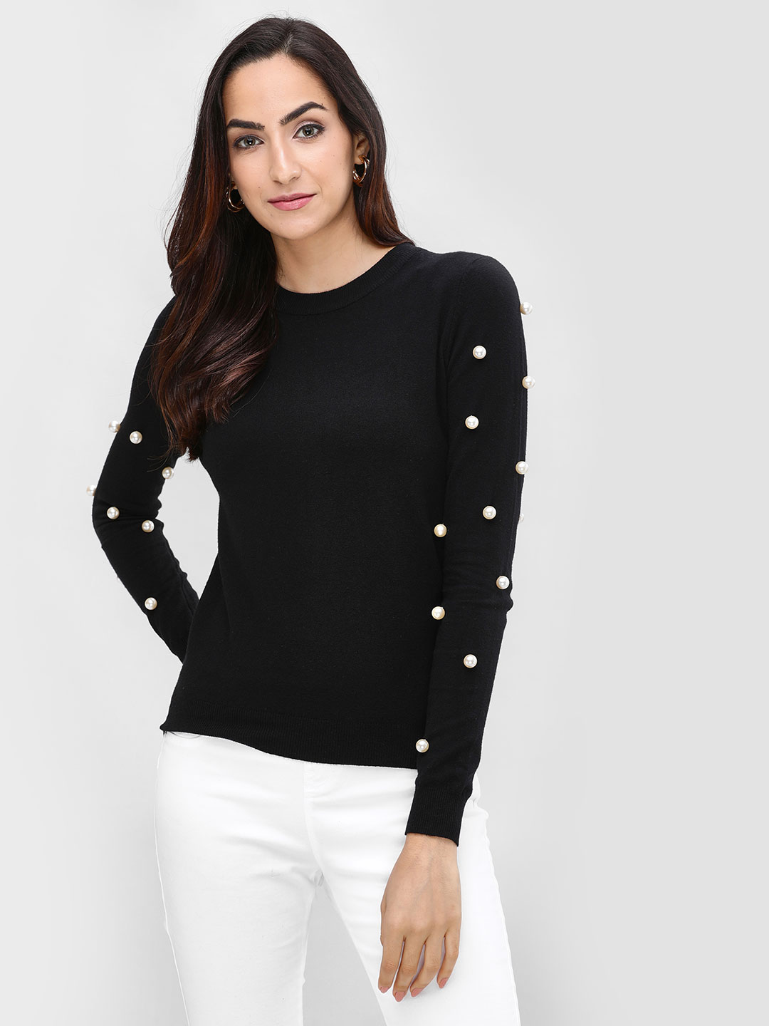 Cover Story Black Round Pullover With Sleeve Detail 1