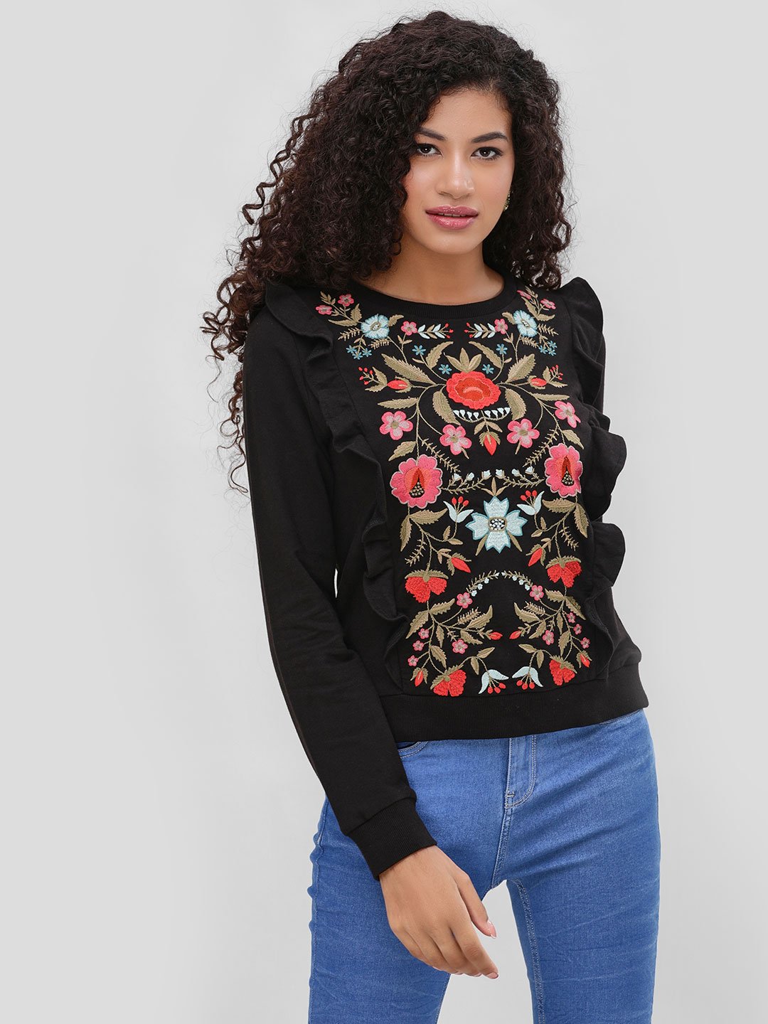 Cover Story Black Embroidered Flared Top 1
