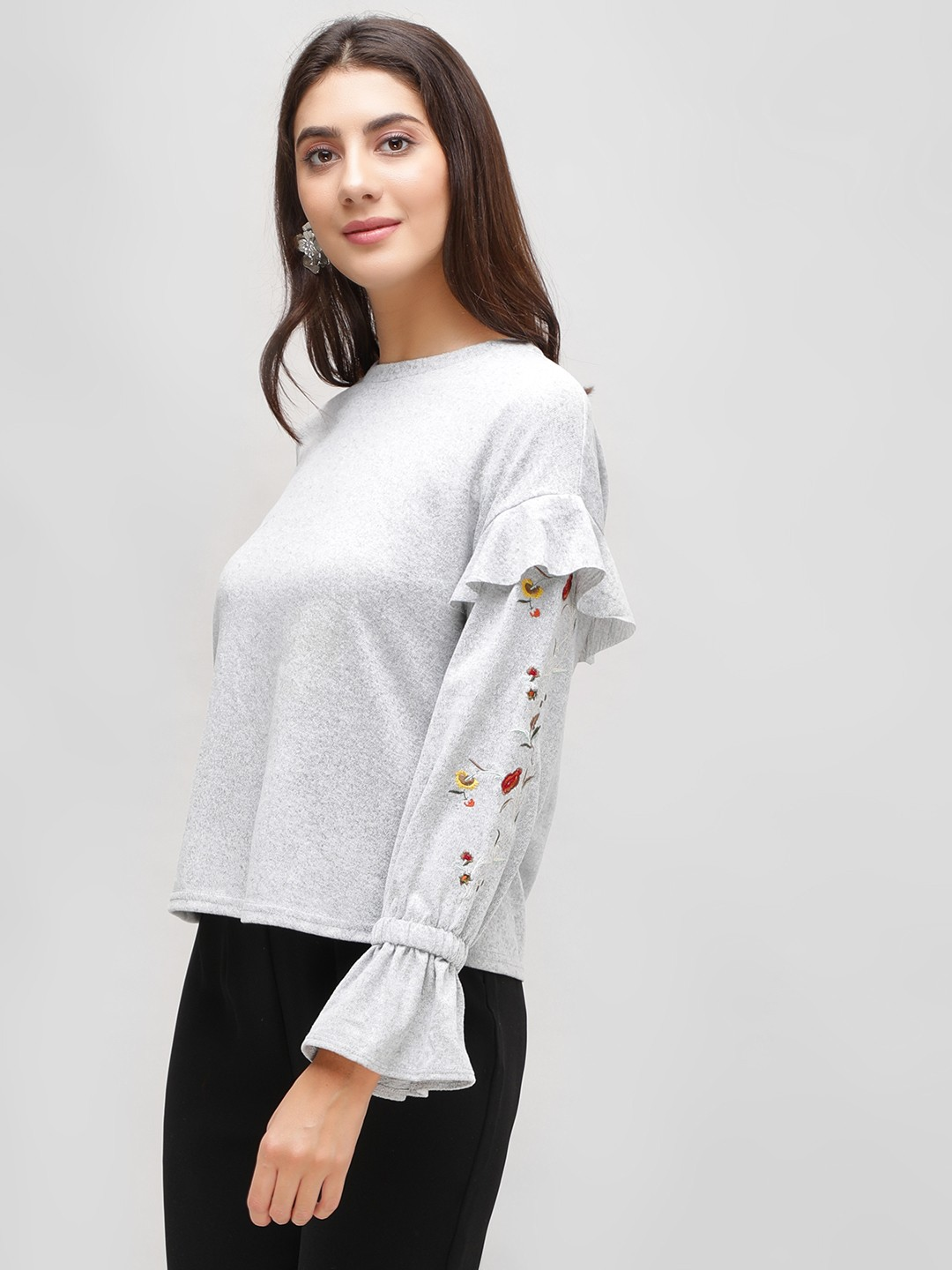 Cover Story Grey Floral Embroidered Ruffle Sleeve Sweatshirt 1