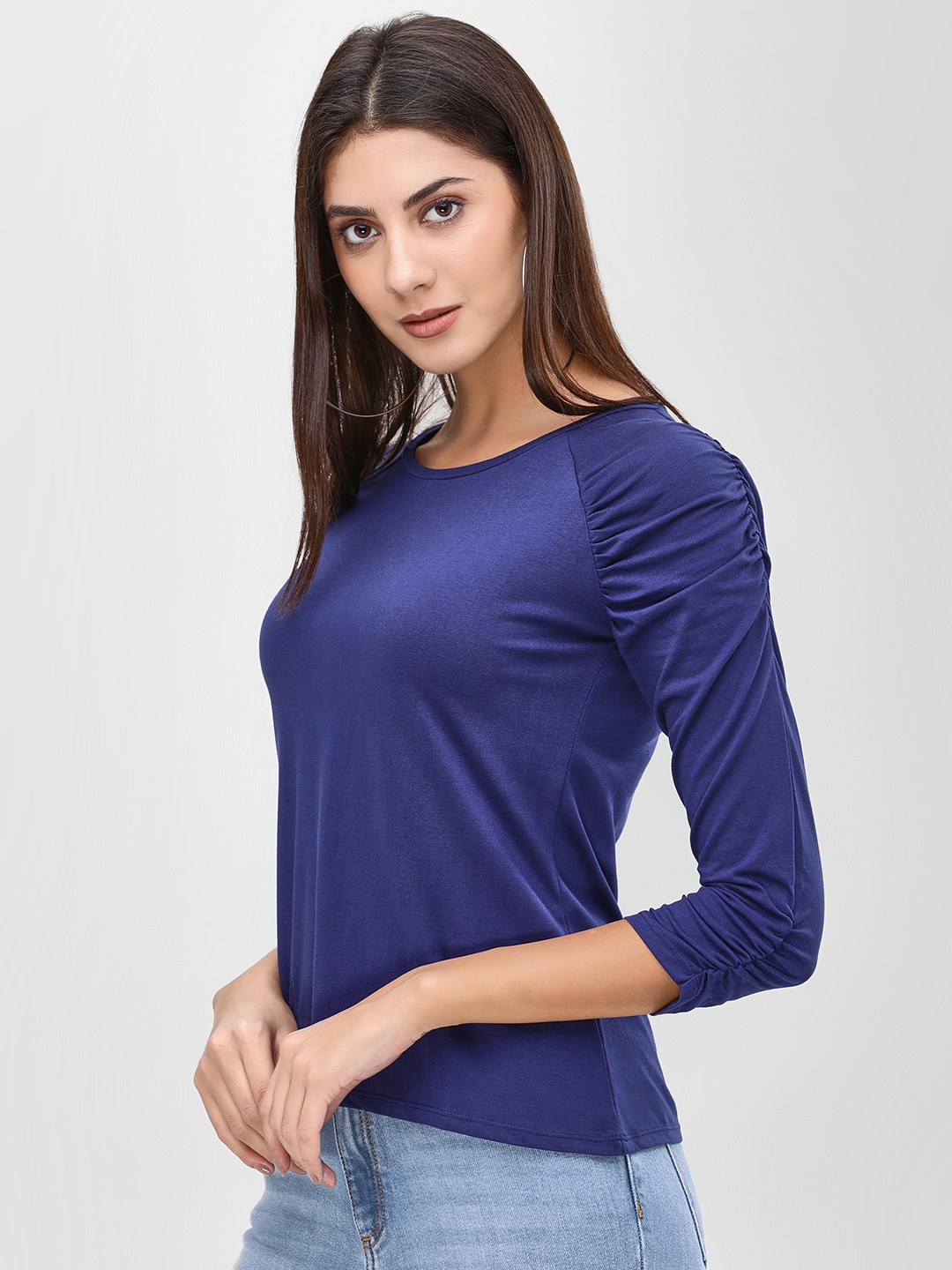 Cover Story Navy Ruched Long Sleeve Top 1
