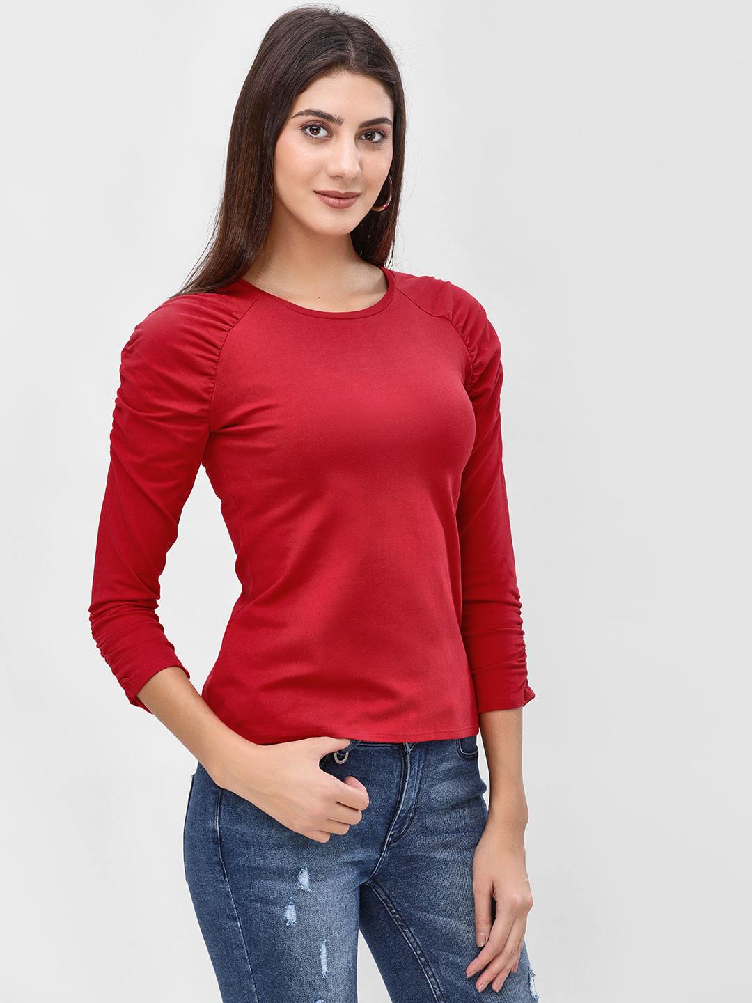 Cover Story Red Ruched Long Sleeve Top 1