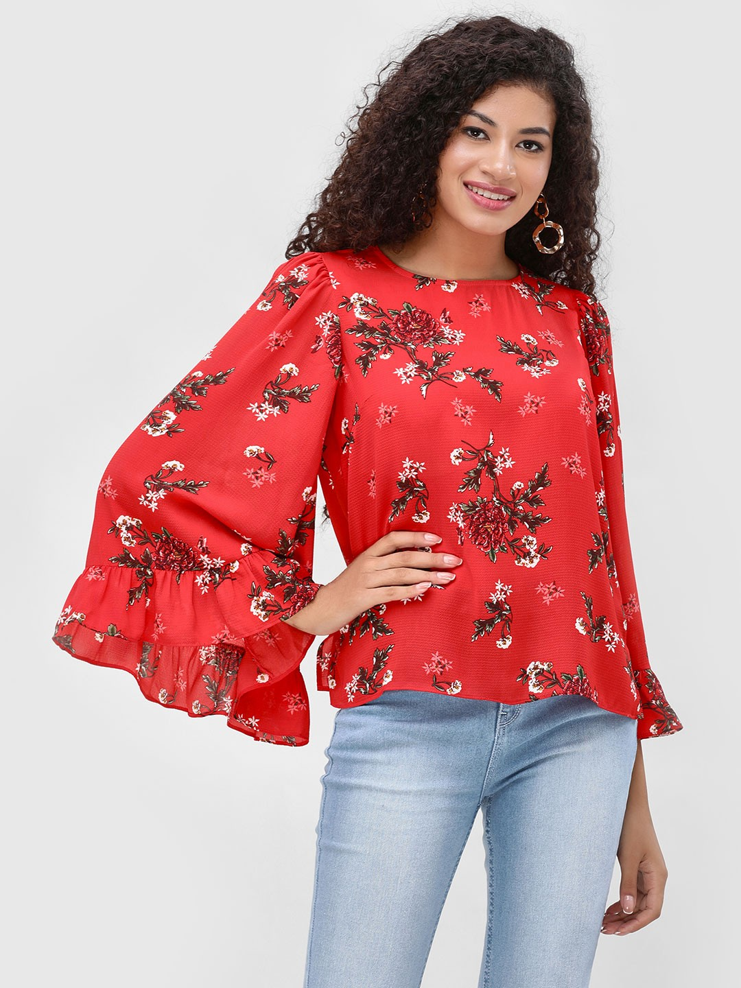 Cover Story Multi Floral Printed Bell Sleeve Blouse 1